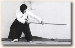 Sugano Sensei demonstrating jo techniques - circa 1975