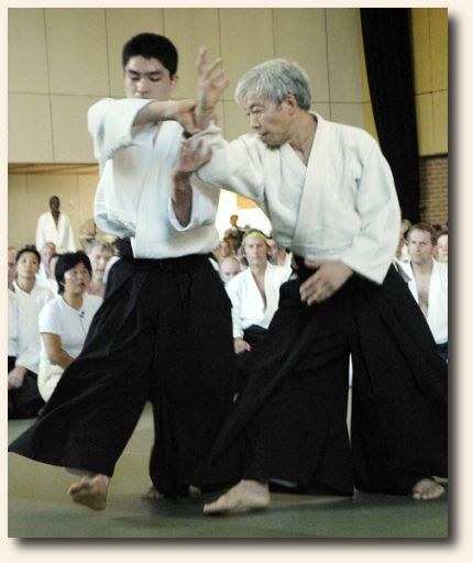 In this image, Doshu demonstrates morotedori kokyunage at Melbourne Summer School, 2006.